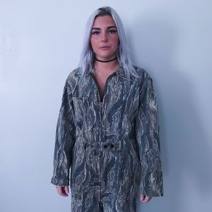 Vintage 90s brown mossy oak camo hunting coveralls